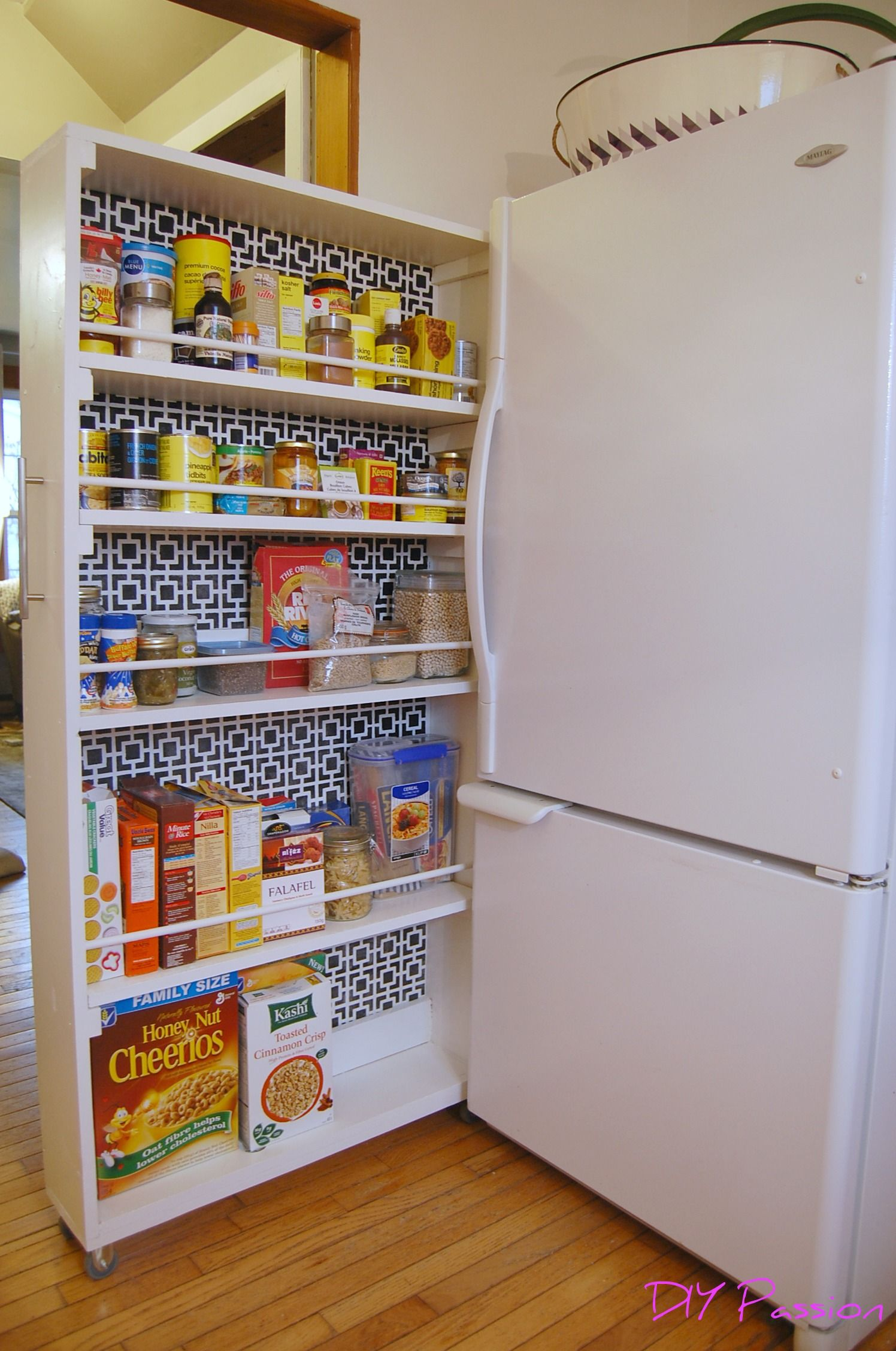 Diy Rolling Pantry Tutorial Home Kitchen Wall Storage Rolling