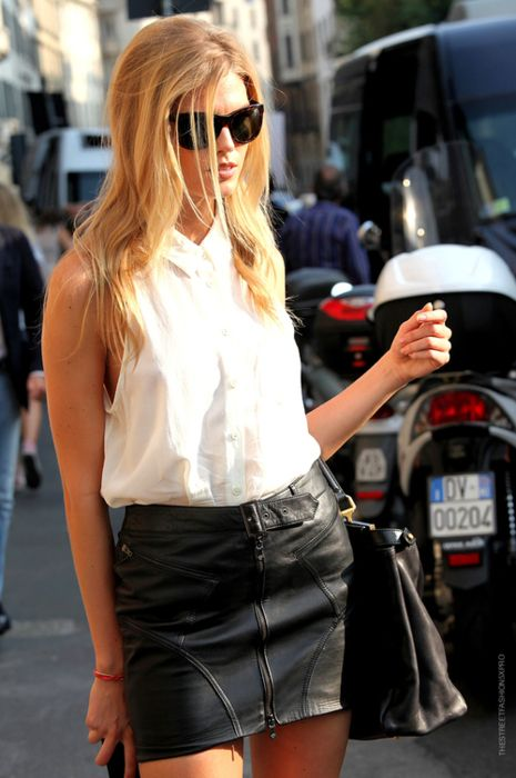 Leather mini with crisp button up.