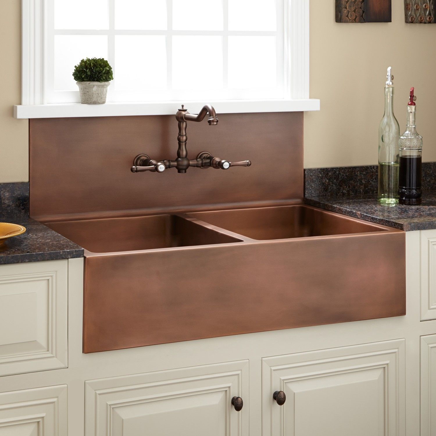 Double Bowl Farmhouse Sink With High Back Splash Antique