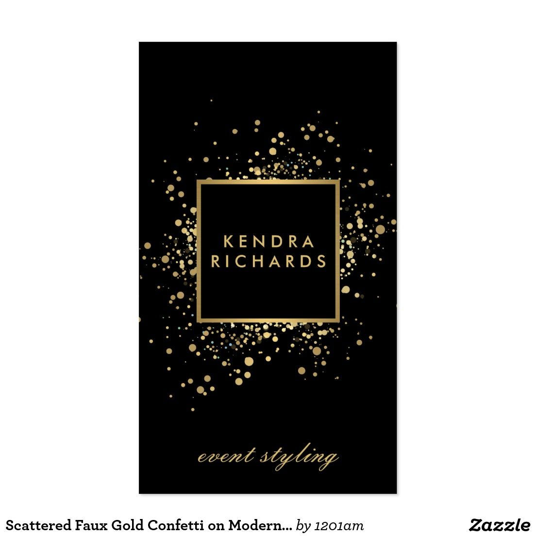Scattered Faux Gold Confetti on Modern Black Business Card | Custom ...