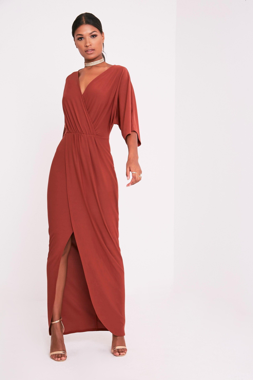 Archer tobacco cape maxi dress brown ml maxi dresses