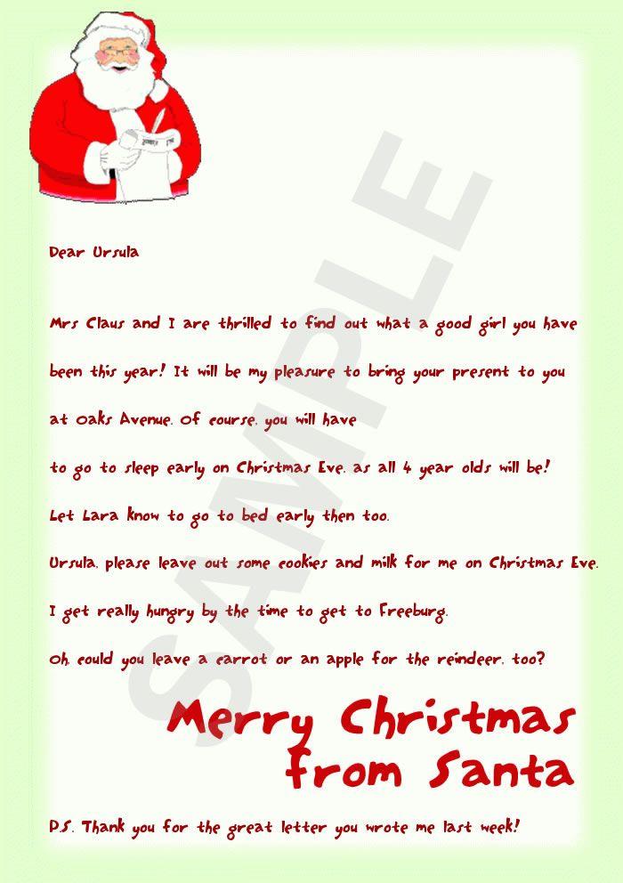 Generic Letter From Santa Santa Letters Santa Letters Pinterest Santa