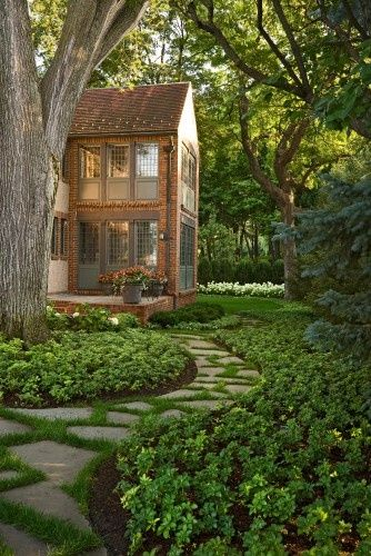 Love love the Bluestone-Flagstone path with grass joint  the Pachysandra used for ground cover.