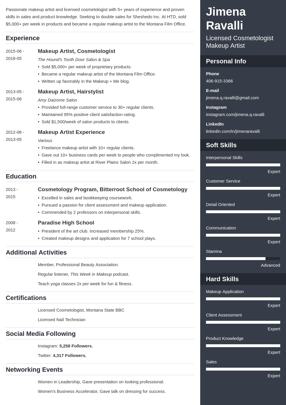 makeup artist resume example template enfold in 2020
