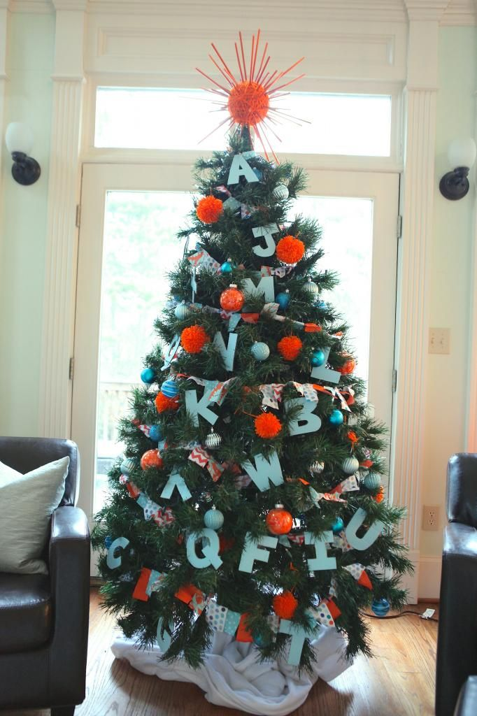 An Orange Blue Alphabet Christmas Bower Power Child Friendly Christmas Ornaments Toddler Christmas Tree Christmas Trees For Kids