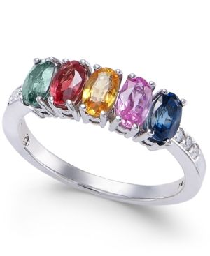 e643716b836c Multi-Sapphire (2 ct. t.w.) & Diamond Accent Ring in 14k White Gold - Multi