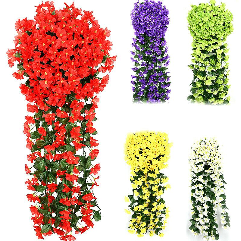 Hanging Wall Artificial Fake Violet Orchid Flowers Wedding Rattan Garden Decor In 2020 Orchid Flower Flowering Vines Hanging Flowers