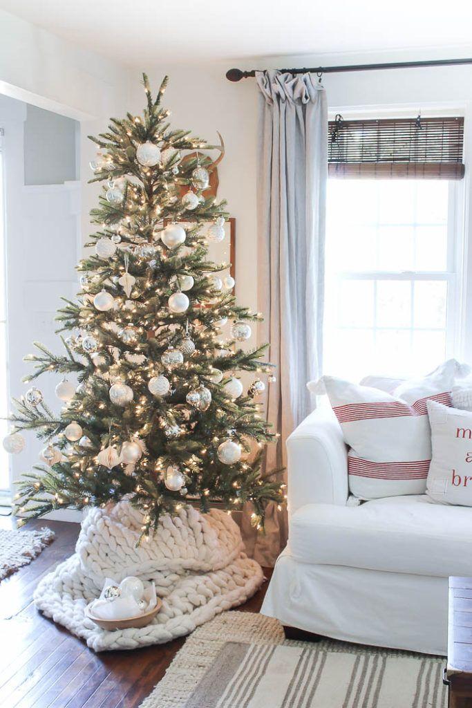 Chunky Knit Tree Skirt under Christmas tree with Christmas