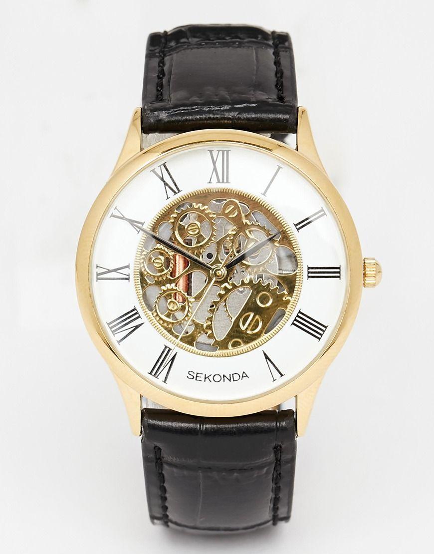 image 1 sekonda montre bracelet en cuir avec. Black Bedroom Furniture Sets. Home Design Ideas