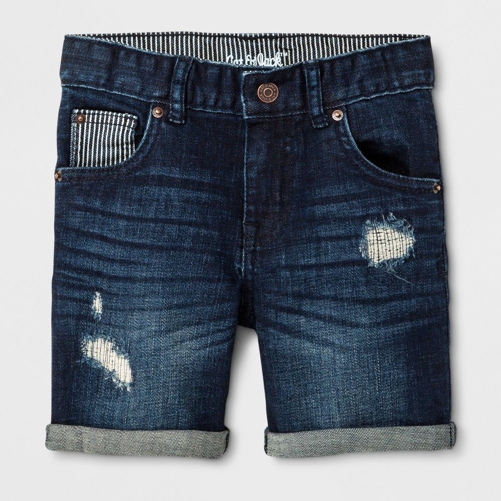 0350c6196 Your little boy will have a blast in the summer sun in these Jean Shorts  from Cat and Jack. Made from a soft and lightweight fabric with added  spandex for ...