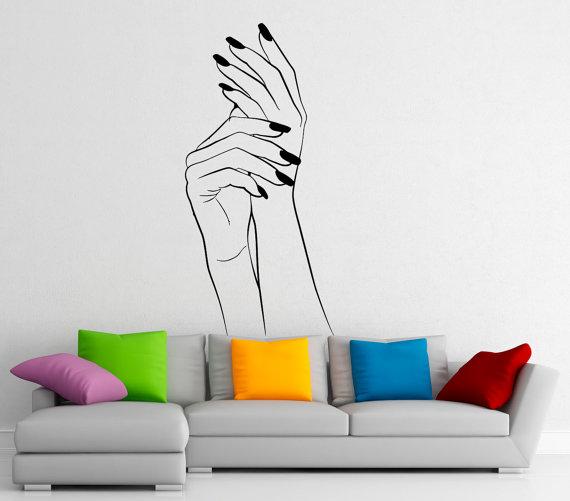 Manicure wall decal vinyl stickers girl hands by bestdecalsusa vinilos decorativos pinterest - Vinilos decorativos para salones ...