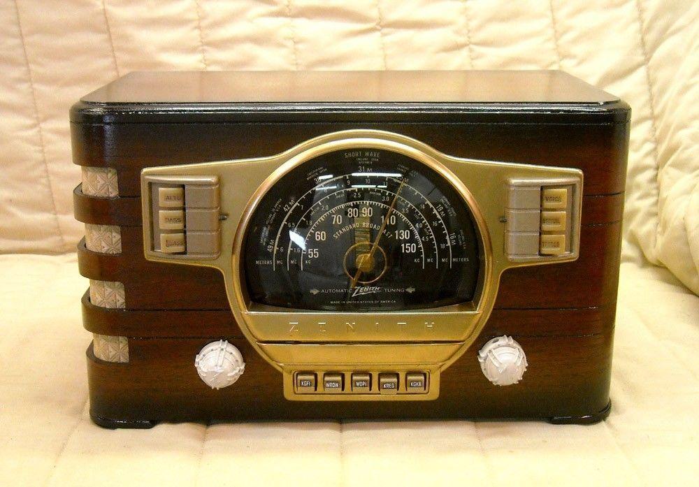 Old Antique Wood Zenith Vintage Tube Radio Restored Working Classic Black Dial Ebay Retro Radio Retro Radio