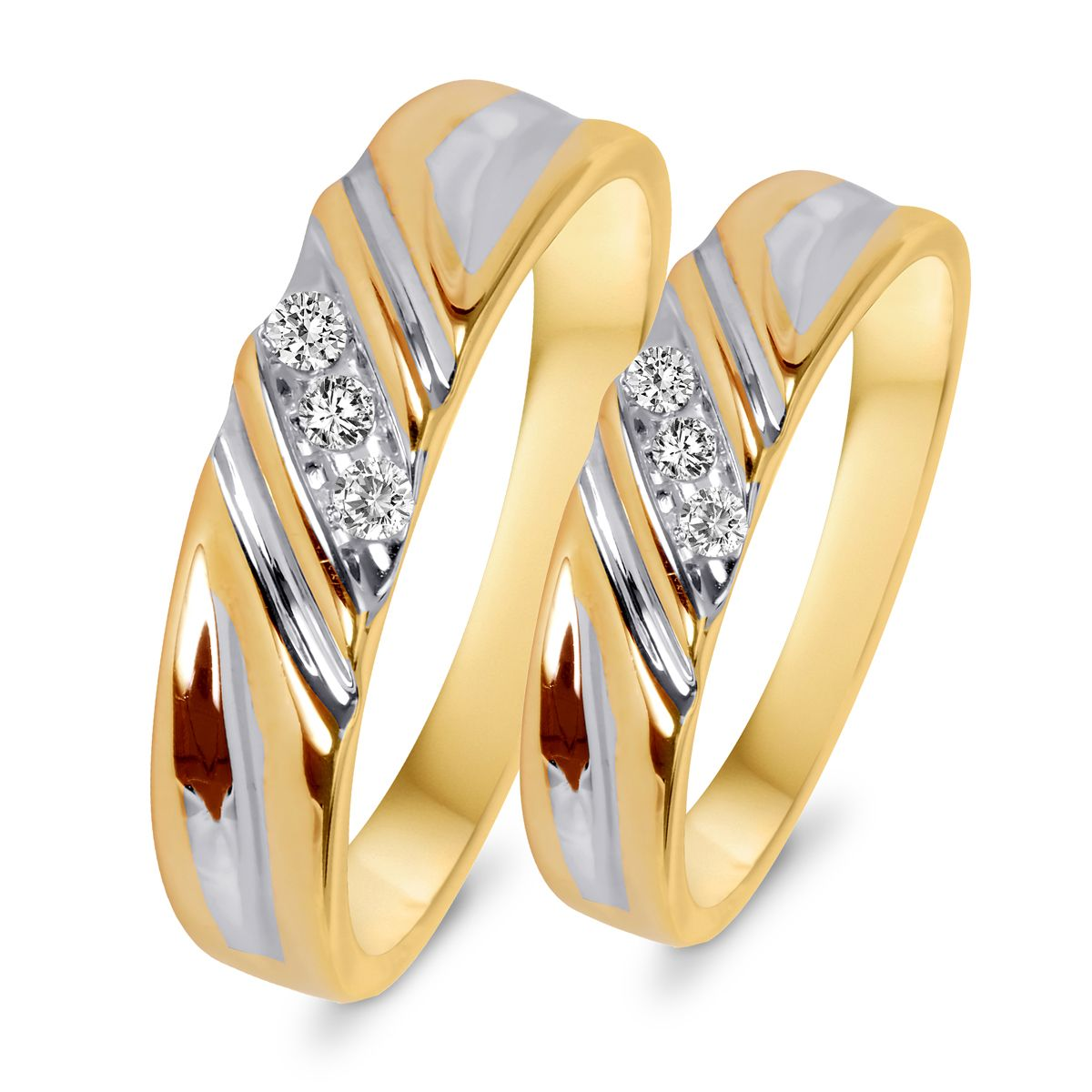 tw diamond his and hers wedding rings 10k rose gold - Wedding Ring Designs