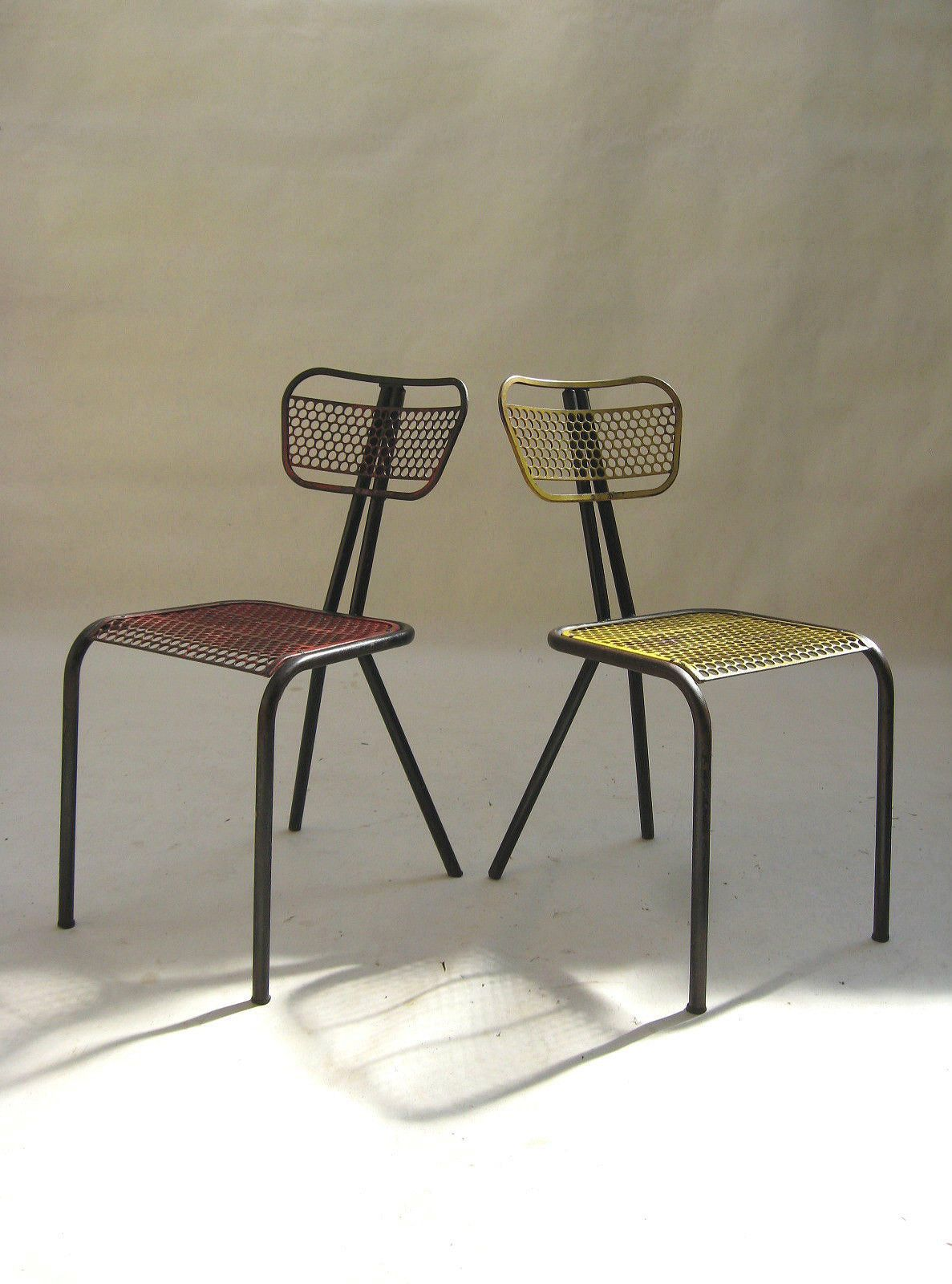Very RARE Set of 2 Perf Metal Chairs by René Malaval 1948