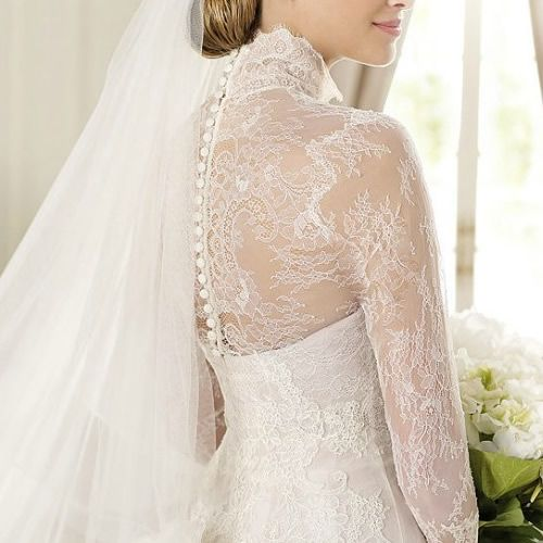 White Lace Long Sleeve Vintage Style Fall Winter Wedding Dress Gown ...