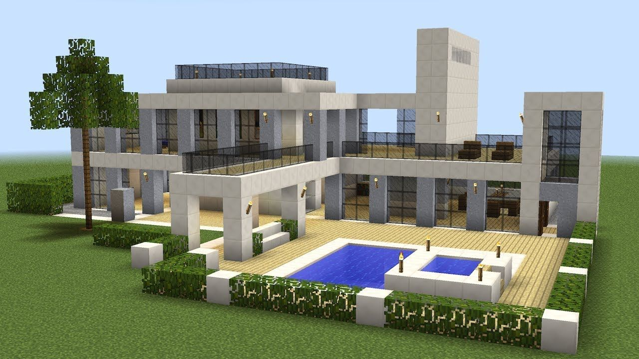 Minecraft how to build a modern house 18 for Casas minecraft planos