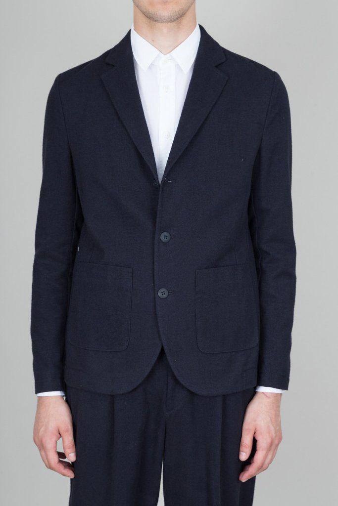 Three Button Jacket - Navy Wool Twill — Folk