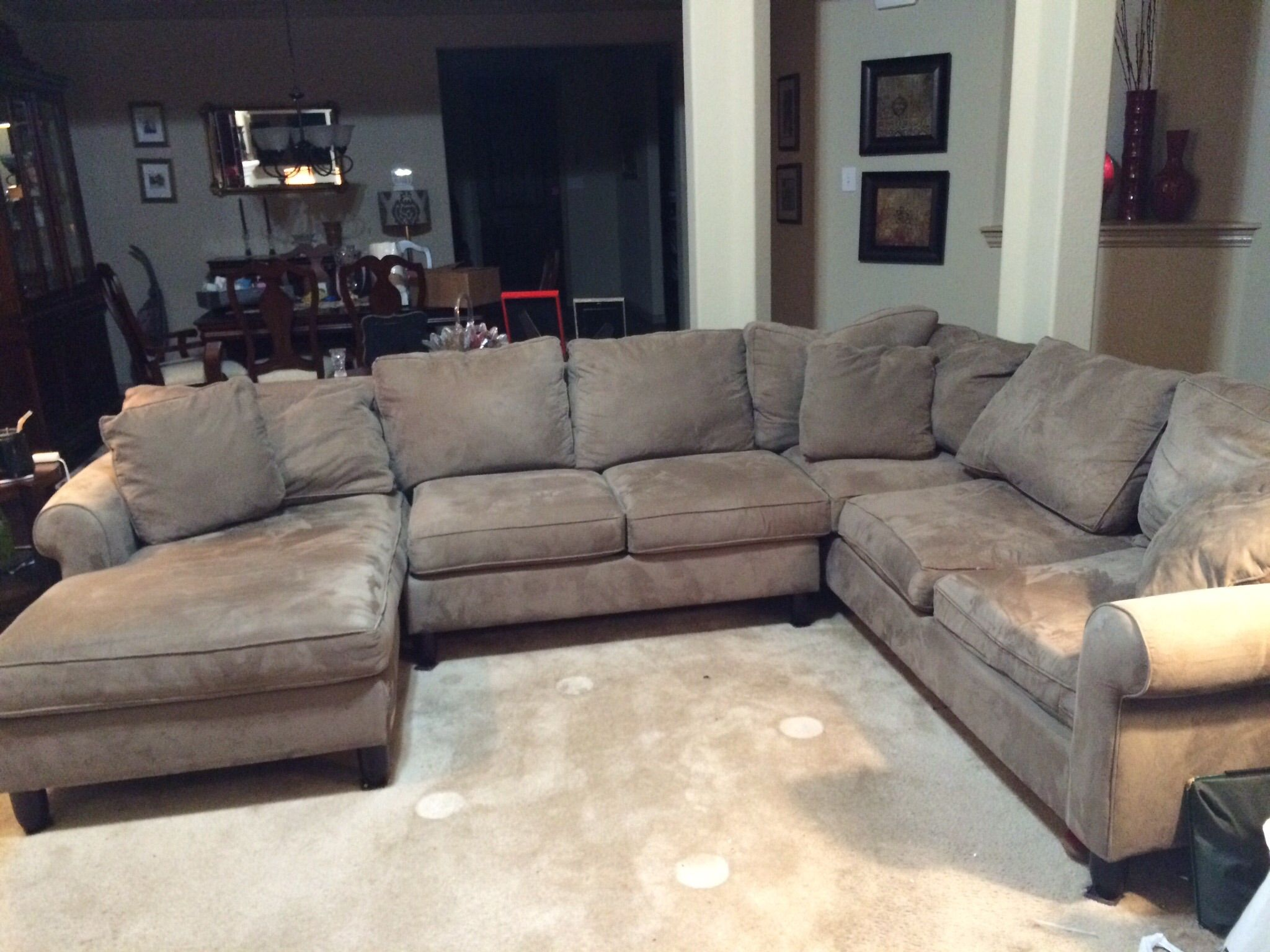 3 Piece Taupe Microfiber Sofa In Sewgirl S Garage Sale Mckinney Tx Home Bar Designs Home Microfiber Sofa