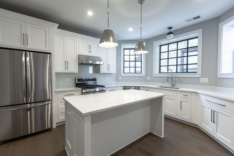 Modern kitchen with white stainless steel