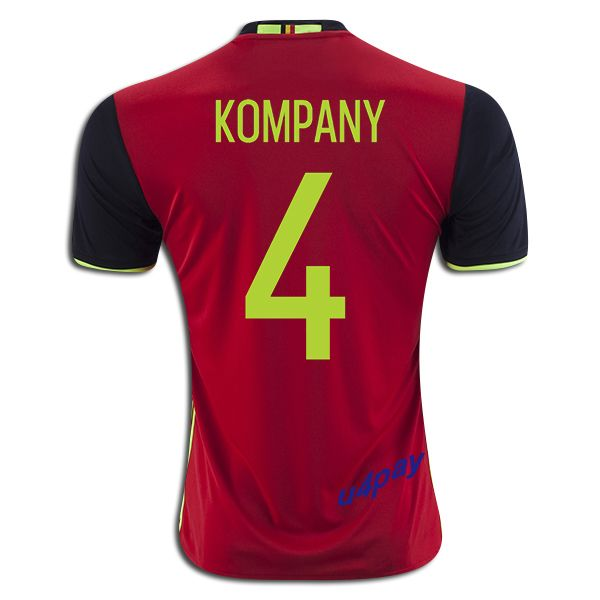 2016 UEFA Euro Belgium Vincent Kompany 4 Home Soccer Jersey