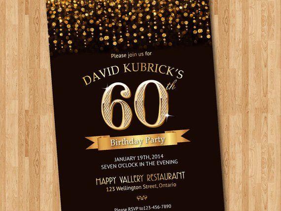 60th Birthday Invitation Gold Glitter Diamond Number Bash Invite Chalkboard Background C