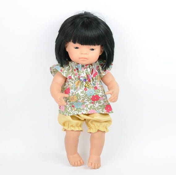 Miniland Doll Clothes 2 dresses and headband bow  Easter special handmade 38cm