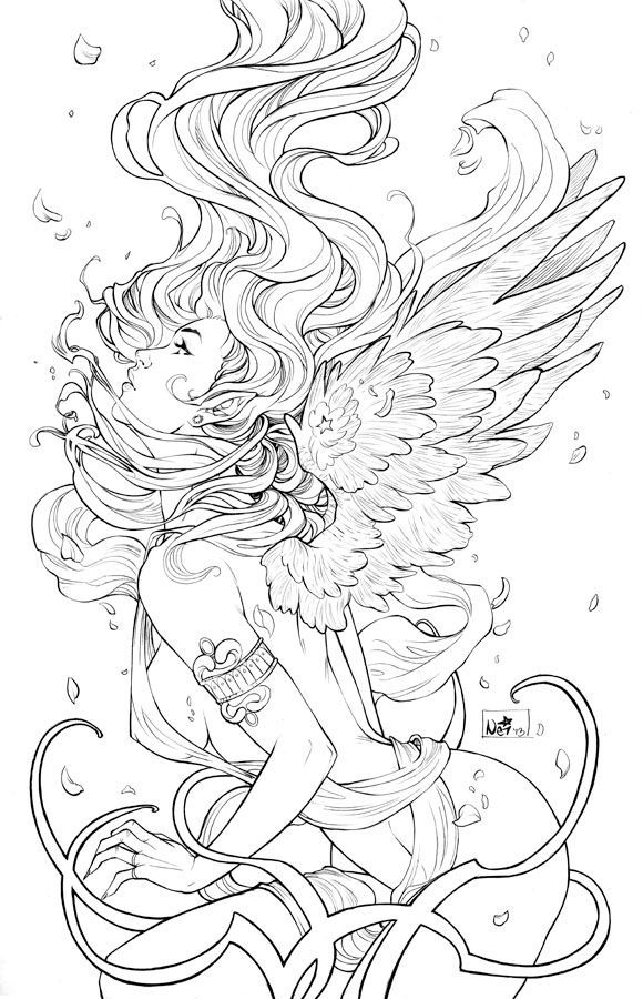 Artists Colouring Book Art Nouveau : Free coloring page «coloring adult art nouveau style fire woman