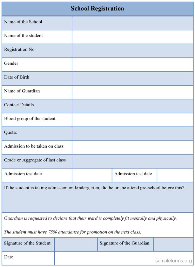 School Registration Form Sample Forms Throughout School