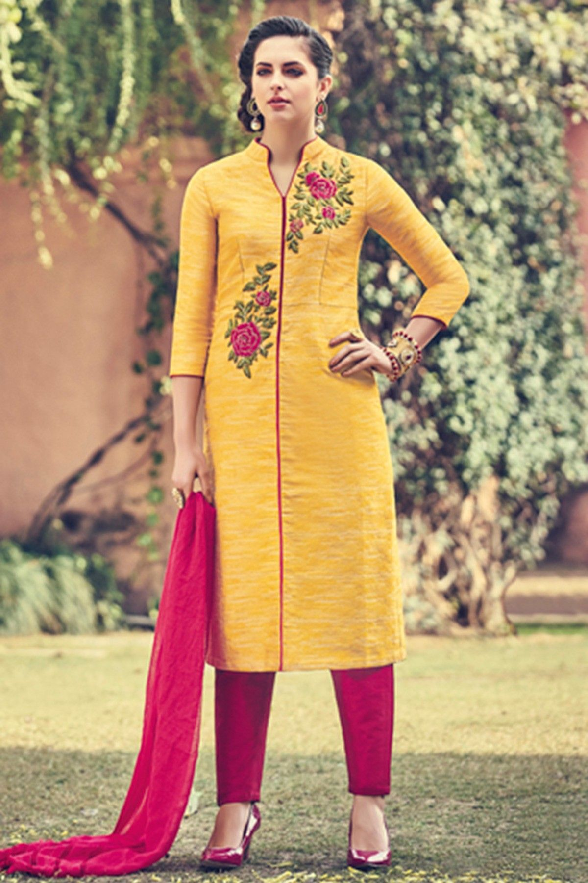 Yellow & #magenta pure raw #silk astonishing embroidered #kameez ...