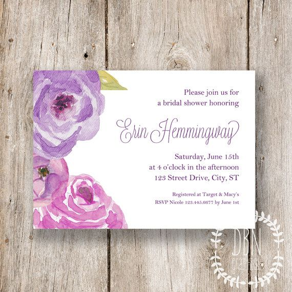 INSTANT DOWNLOAD     Plum Watercolor Floral Bridal or Baby Shower - bridal shower template