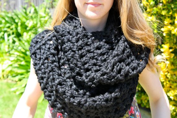 Check out my new Etsy shop, Sweet Bohemia Long Double Crochet Infinity Scarf - Black