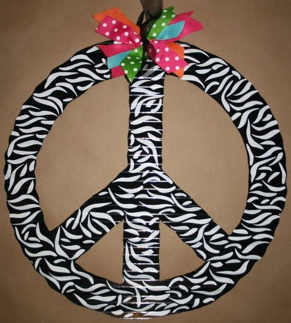 zebra peace sign... Would love this for a lil girls room!