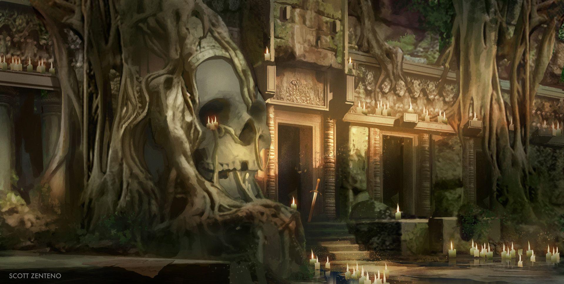 ArtStation Temple Entrance Scott Zenteno Fantasy Locations Fantasy Landscape Fantasy
