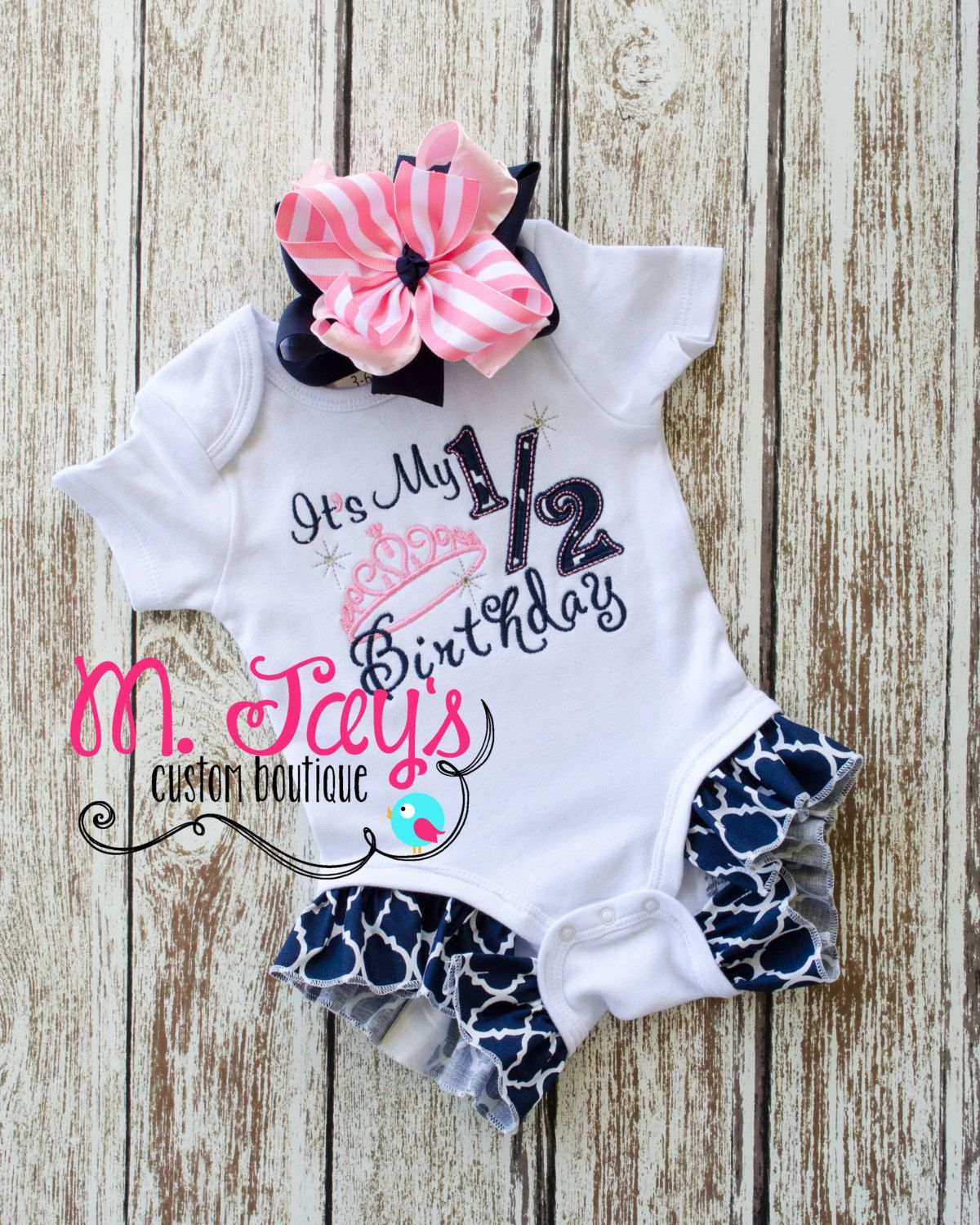 b898a6d492e6 Princess Half Birthday Outfit- Great for that 6 months or 1 2 birthday  photoshoot! by MJaysBoutique on Etsy