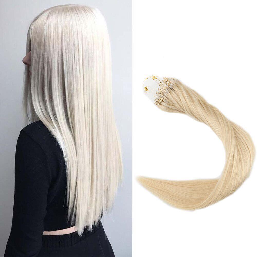 Micro Bead Loop Rings Hair Extensions Straight Tipped Beads Human