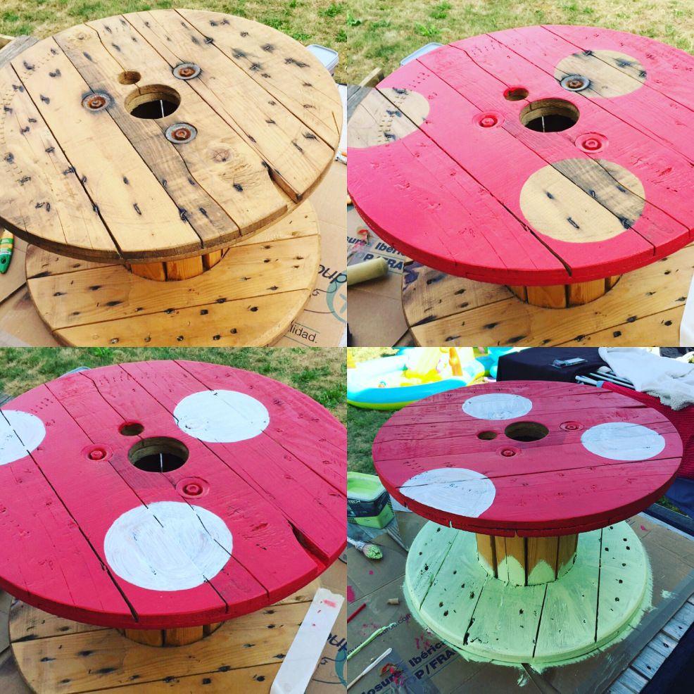 DIY - fabriquer une table de jardin champignon avec un touret ...