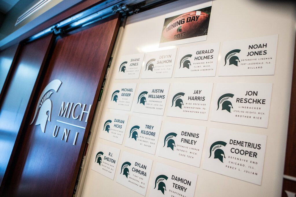 A view of Michigan State's Signing Day Big Board in the