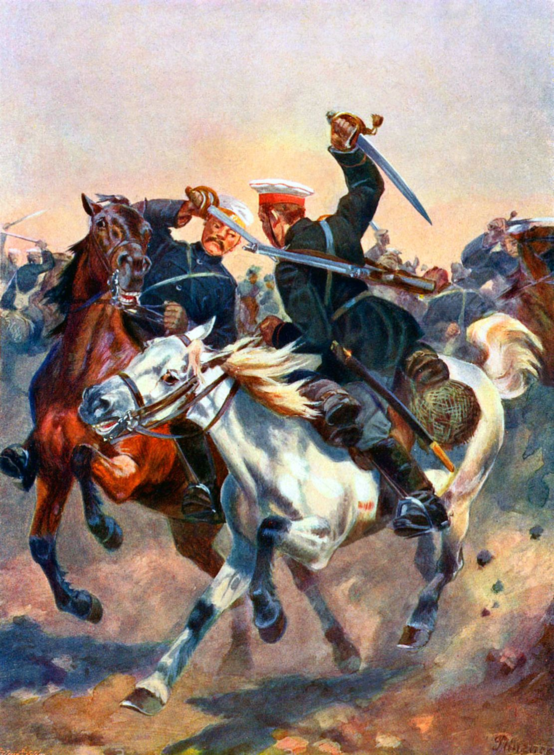 Cavalry Battle Between Russian And Japanese Horsemen In Liaotung