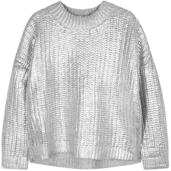 93688201b12a3e Womens Jumpers DKNY Silver Foil-print Knitted Jumper (45.265 RUB) ❤ liked  on Polyvore featuring tops, sweaters, dkny sweaters, dkny tops, pattern  sweater, ...