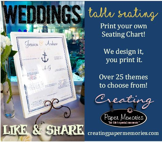 Did you know that when you purchase your wedding seating chart file from Creating Paper Memories that it includes unlimited changes? and we also make the file to size so your local printer doesn't have to resize it? Seating charts are the number one wedding item that has the most changes. Our brides love the fast turnaround and also the many themes to choose from. Be sure to check out our website for items we also print and ship to you! www.creatingpapermemories.com