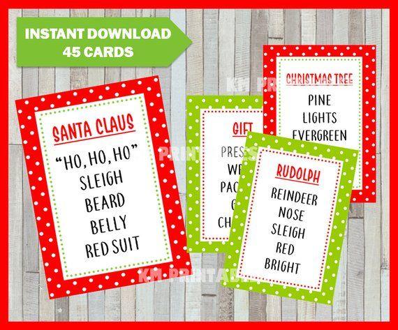 Christmas Taboo - Printable Christmas Game Cards for Taboo - Group