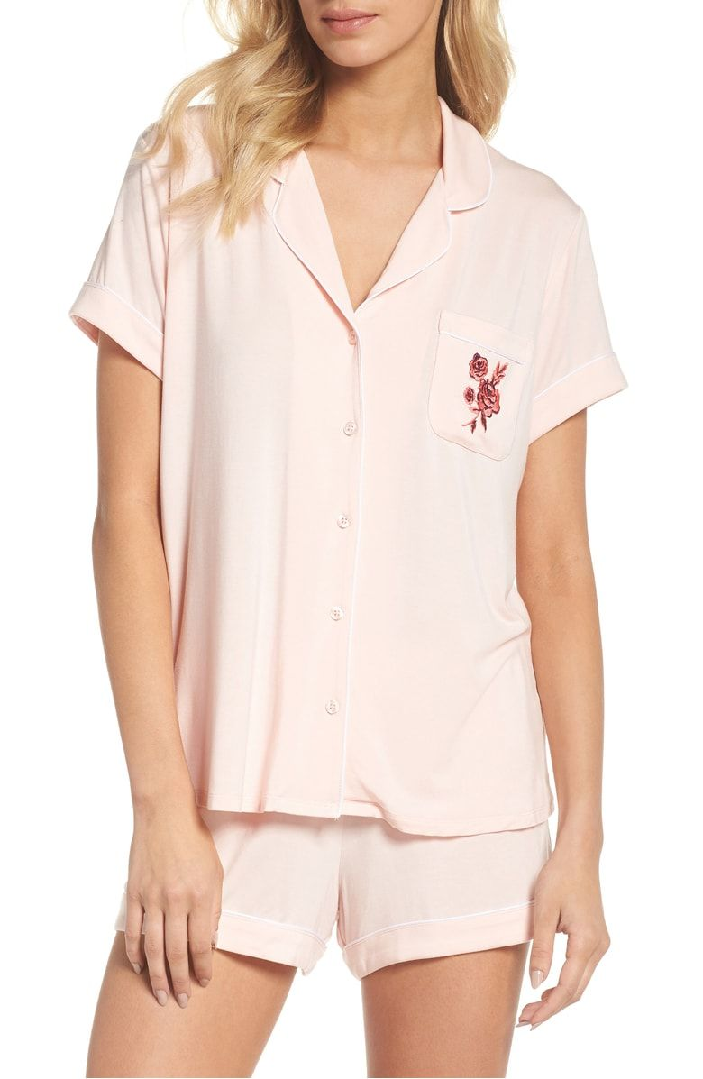 02c6d5076b Free shipping and returns on Nordstrom Lingerie Moonlight Shortie Pajamas  at Nordstrom.com. Embroidered roses adorn the chest pocket of soft