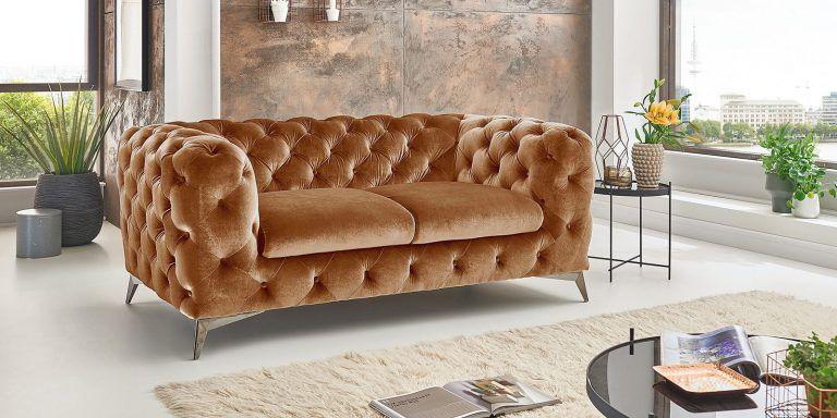 Chesterfield 2 Sitzer Modern Gold Samt Big Emma In 2020 Chesterfield Sofa Sitzgruppe Sofa