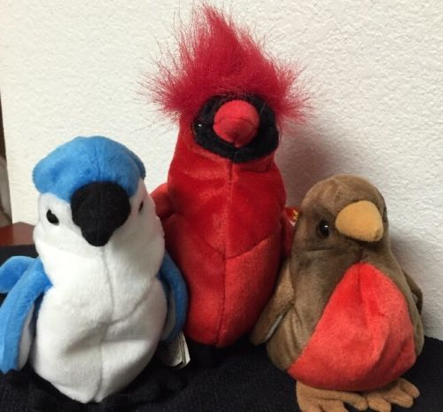 2801b24625c Lot of 3 Ty Bird Beanie Babies Red Breasted Robin Cardinal Blue Jay w  Tags  EUC
