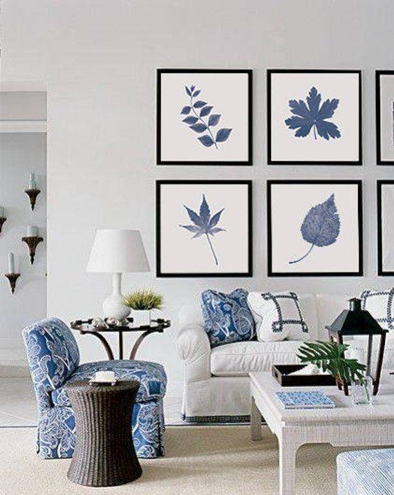 Ensemble d'art de mur bleu de marine, décor de mur d'automne imprimable, impressions bleues de plante, ensemble de 4 art de mur #beachhouse