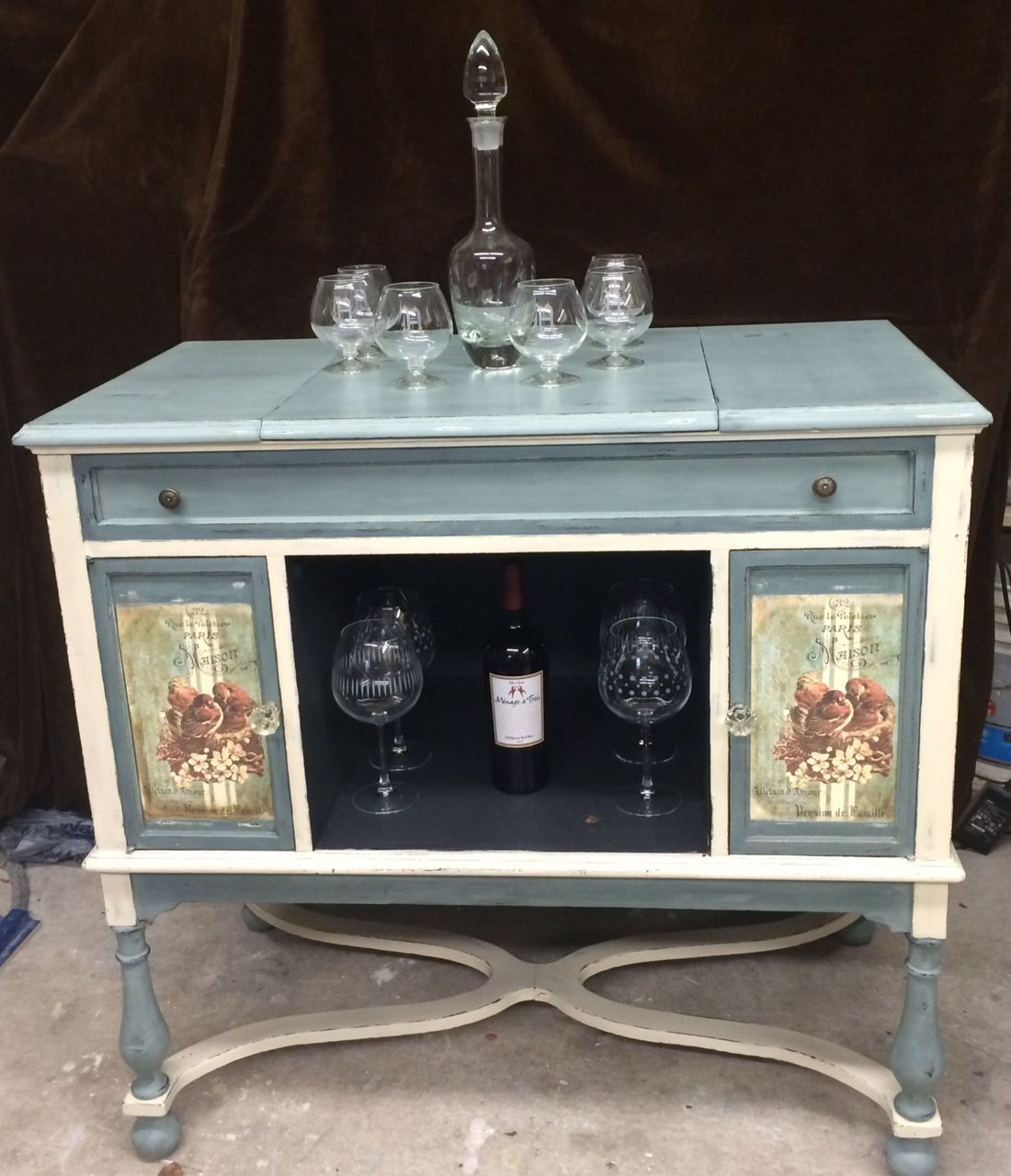 Hand Painted Antique Record Player Cabinet Painted Furniture Antique Furniture Vintage Furniture Antique