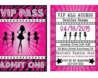 Fashion Show Birthday Party Invitation Runway Birthday Party