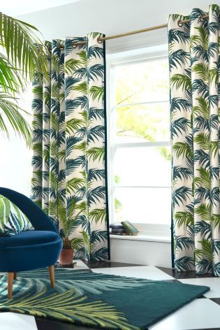 Buy Loreto Palm Leaf Print Eyelet Curtains From The Next UK Online Shop