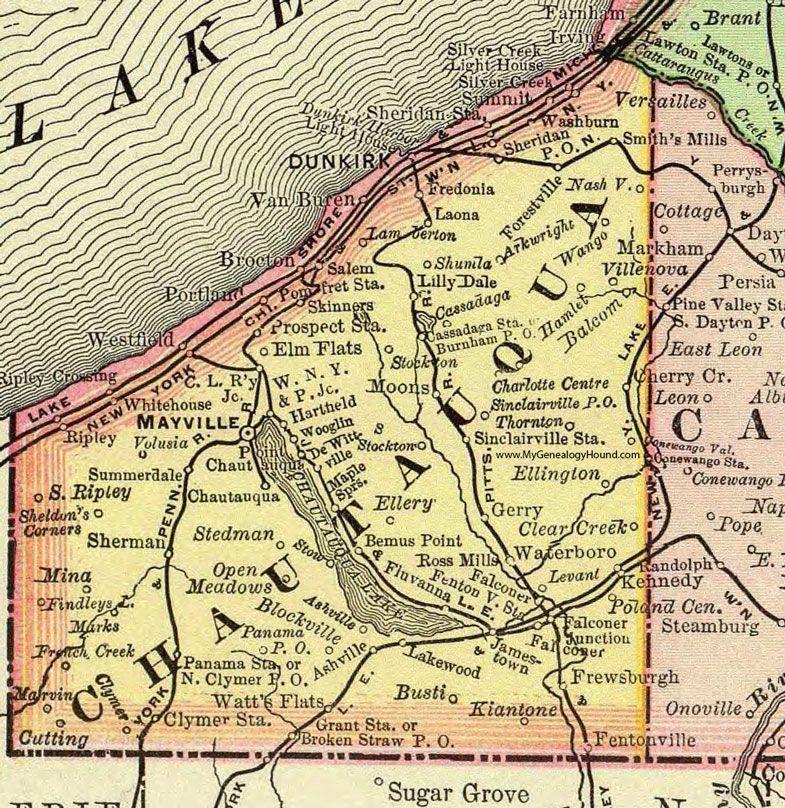 Chautauqua County, New York, 1897, Map, Rand McNally, Mayville ... on