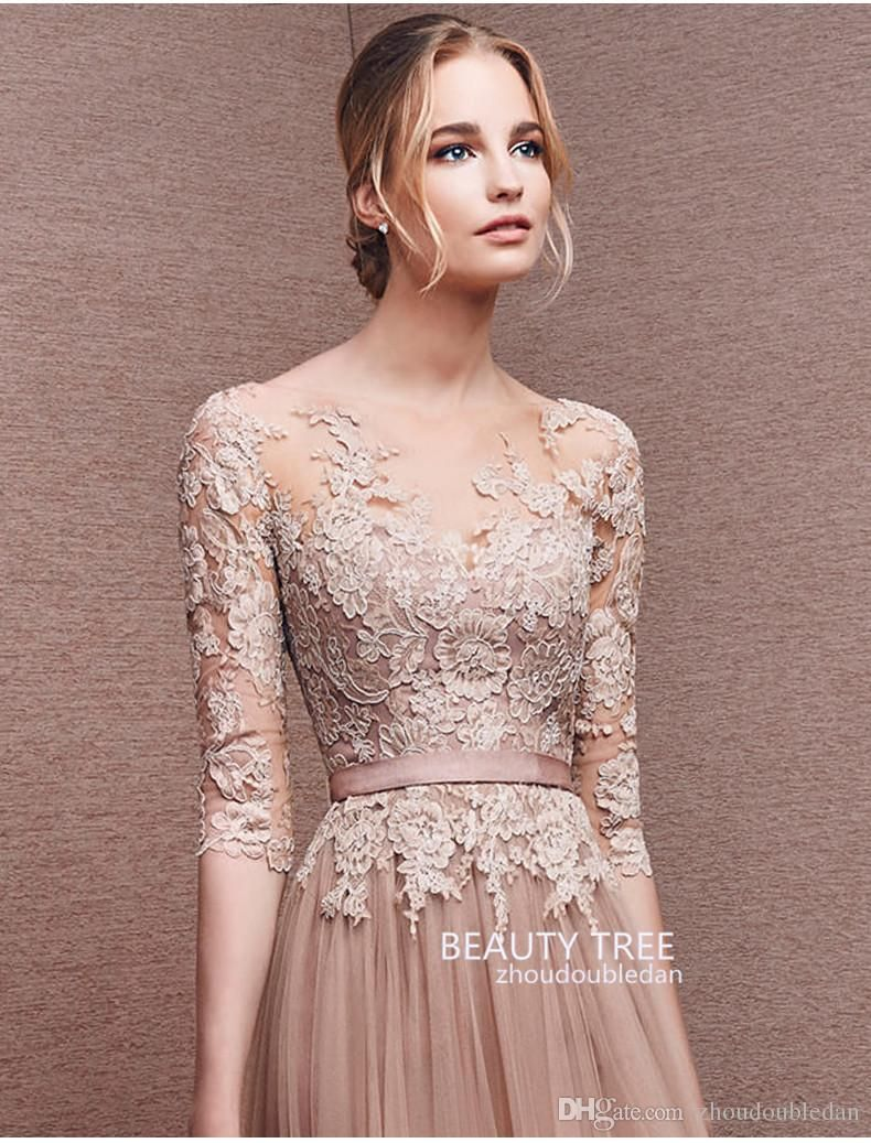 a-line Princess Zuhair Murad Scoop Neck Lace Formal Evening Dresses ...